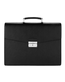 Prada Leather Briefcase, Triple-Gusset