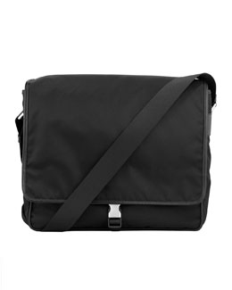 Prada Single Clip Messenger Bag, Black Canvas