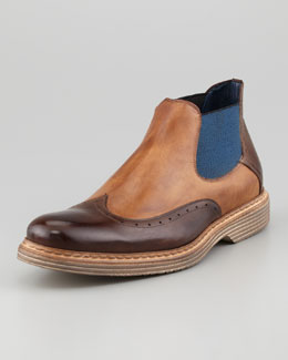 Stefano Branchini Bicolor Wing-Tip Chelsea Boot, Medium Brown