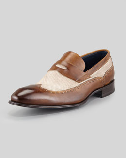 Stefano Branchini Leather & Linen Wing-Tip Penny Loafer, Brown
