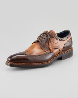 Stefano Branchini Two-Tone Square-Toe Wing-Tip Blucher