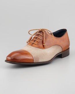 Stefano Branchini Leather & Linen Cap-Toe Oxford, Tan