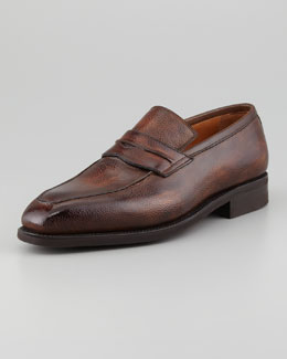 Bontoni Capitano Apron-Toe Grained Slip-On Penny Loafer, Choco