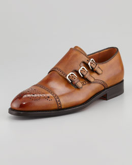 Bontoni Excelsior Perforated Triple-Buckle Monk-Strap Loafer