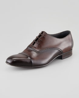 Lanvin Torsade Cap-Toe Oxford Loafer, Dark Brown