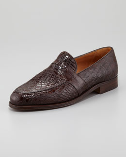 Gravati Crocodile Penny Loafer, Medium Brown