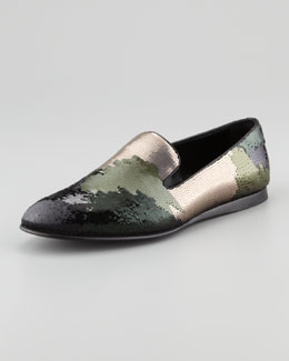 Prada Camouflage Sequin Smoking Slipper