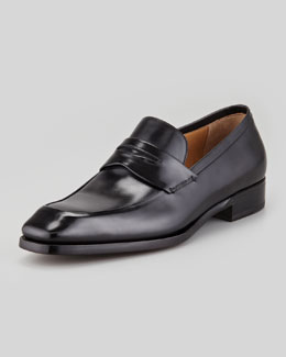 Silvano Sassetti Leather Penny Loafer, Black