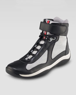 Prada High-Top Leather Sneaker, Black/Silver
