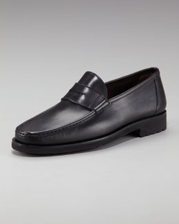 Bergdorf Goodman Leather Penny Loafer, Black