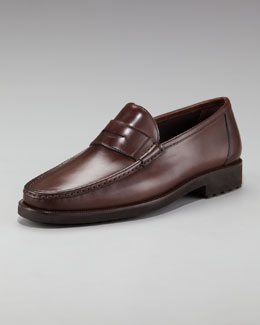 Bergdorf Goodman Leather Penny Loafer, Brown