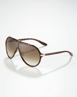 Tom Ford Ace Plastic Shield Aviators, Havana