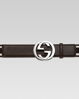 Gucci Adjustable G-Buckle Web Belt, Brown