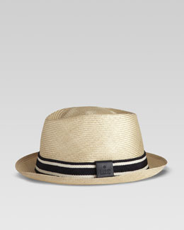 Gucci Straw Web Fedora, Blue/Off-White