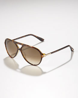 Tom Ford Leopold Plastic Aviator Sunglasses, Dark Havana