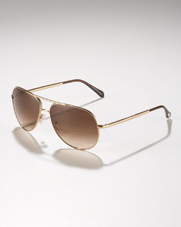 Ermenegildo Zegna Metal Aviator Sunglasses, Golden