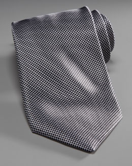 Stefano Ricci Mini-Houndstooth Silk Tie, Gray