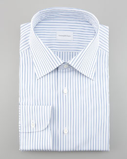 Ermenegildo Zegna Striped Dress Shirt, Blue/White