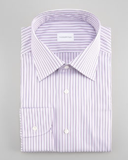 Ermenegildo Zegna Striped Dress Shirt, Purple
