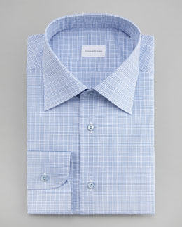 Ermenegildo Zegna Check Dress Shirt, Light Blue