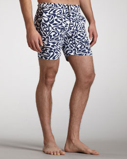 Orlebar Brown Bulldog Water-Print Swim Shorts, Navy