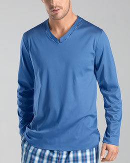 Hanro Long Island Mercerized Pajama Shirt, Light Blue