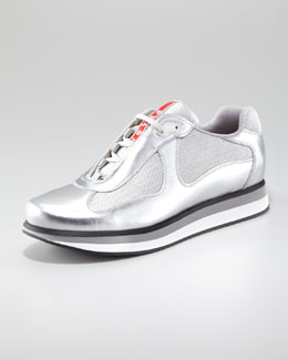 Prada Metallic Sport Sneaker with Micro Sole