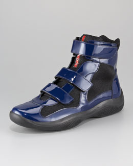 Prada Patent Double-Strap High-Top Sport Sneaker