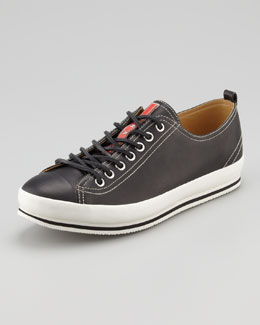 Prada Leather Cap-Toe Leather Sneaker, Black