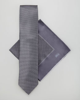 Brioni Neat-Print Tie & Pocket Square Set, Gray