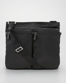 Prada Zip-Top Nylon Messenger Bag