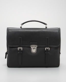 Prada Buckled Saffiano Briefcase