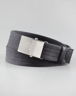 Prada Wool Logo-Buckle Belt