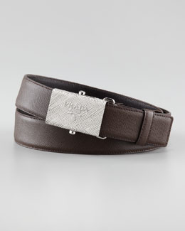 Prada Printed-Buckle Saffiano Leather Belt, Brown