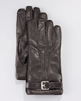 Prada Leather Belted Glove, Black