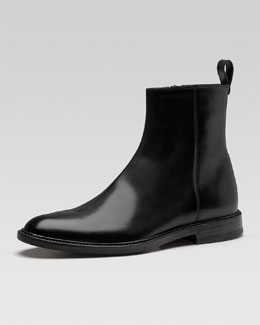 Gucci Cezanne Leather Ankle Boot, Black