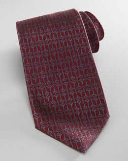 Gucci Vertical Horsebit Tie, Red