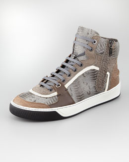 Lanvin Side-Zip Watersnake High-Top Sneaker