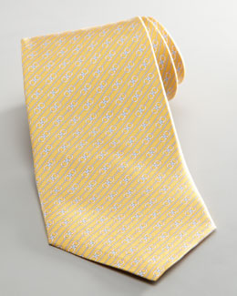 Salvatore Ferragamo Diagonal Double Gancini Tie, Yellow