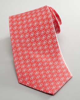 Salvatore Ferragamo Diagonal Double Gancini Tie, Red
