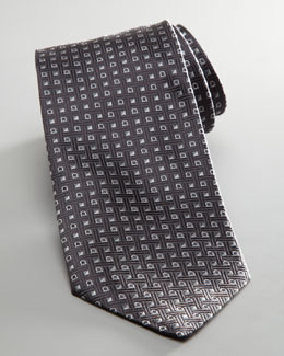 Salvatore Ferragamo Square and Gancini Tie, Gray