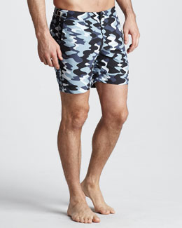 Orlebar Brown Bulldog Camo Swim Shorts, Graphite/Chalk