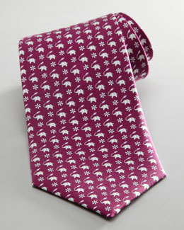 Salvatore Ferragamo Elephant and Leaf Tie, Purple