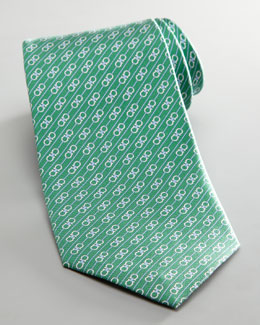 Salvatore Ferragamo Diagonal Double Gancini Tie, Green