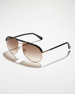 Tom Ford Marco Aviator Sunglasses, Rose Gold/Black