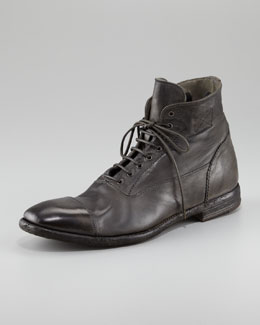 Alexander McQueen Distressed Leather Cap-Toe Boot