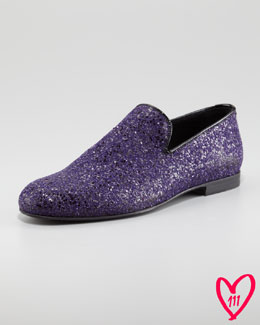 Jimmy Choo BG 111th Anniversary Sloane Glitter Smoking Slipper, Purple