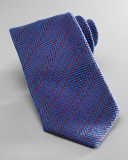 Charvet Herringbone Wool-Silk Tie, Blue/Red