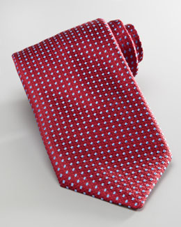Charvet Dashes Tie, Red/Light Blue