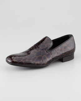 Saint Laurent Leopard-Print Patent Loafer